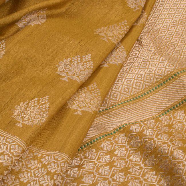 Handwoven Banarasi Kadhwa Tussar Silk Saree With Floral butis 10019291