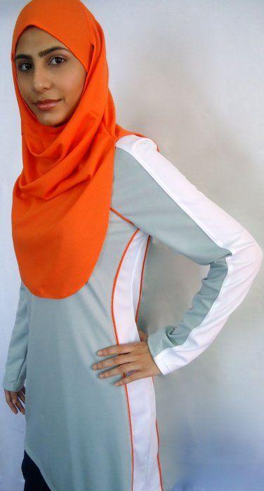 orange sports hijab, light grey / white/ orange trim sports top by friniggi Sportswear for Muslim Women www.friniggi.com