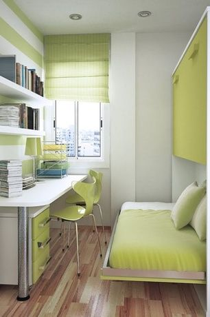 Contemporary Home Office with Pottery Barn Kids Mason Push Button Base, Hardwood floors, Built-in bookshelf, Bunk beds