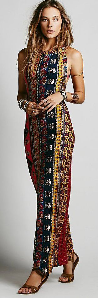 Sexy Boho Style Maxi Dress Hippie-inspired colors and patterns make this comfy maxi really great.