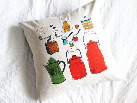 Handmade cotton/linen throw pillow, kitchen supplies cushion, home decor