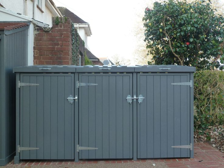 Triple wheelie bin store. The Handmade Garden Storage Company, Devon
