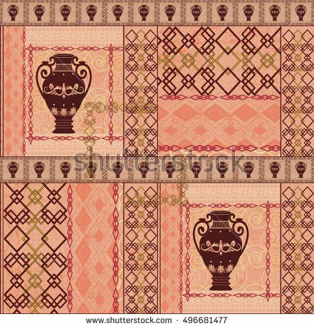patchwork vintage ethnic seamless pattern texture dark on beige  background.amphora.