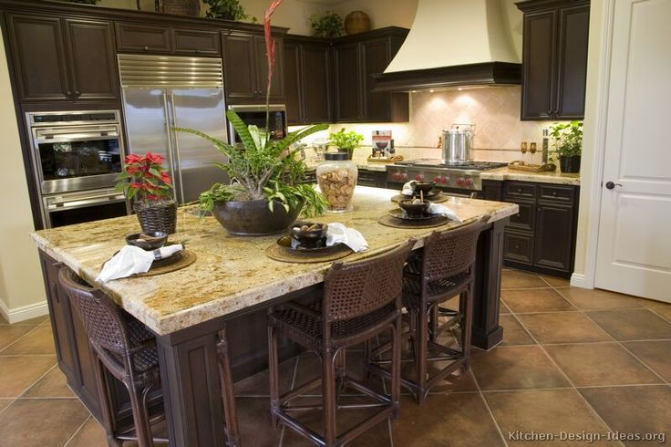 kitchen floor tile dark cabinets pictures of kitchens traditional