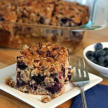 Blueberry Oat Buttermilk Breakfast Cake with Streusel Topping (with gluten-free option).  From TheYummyLife.com