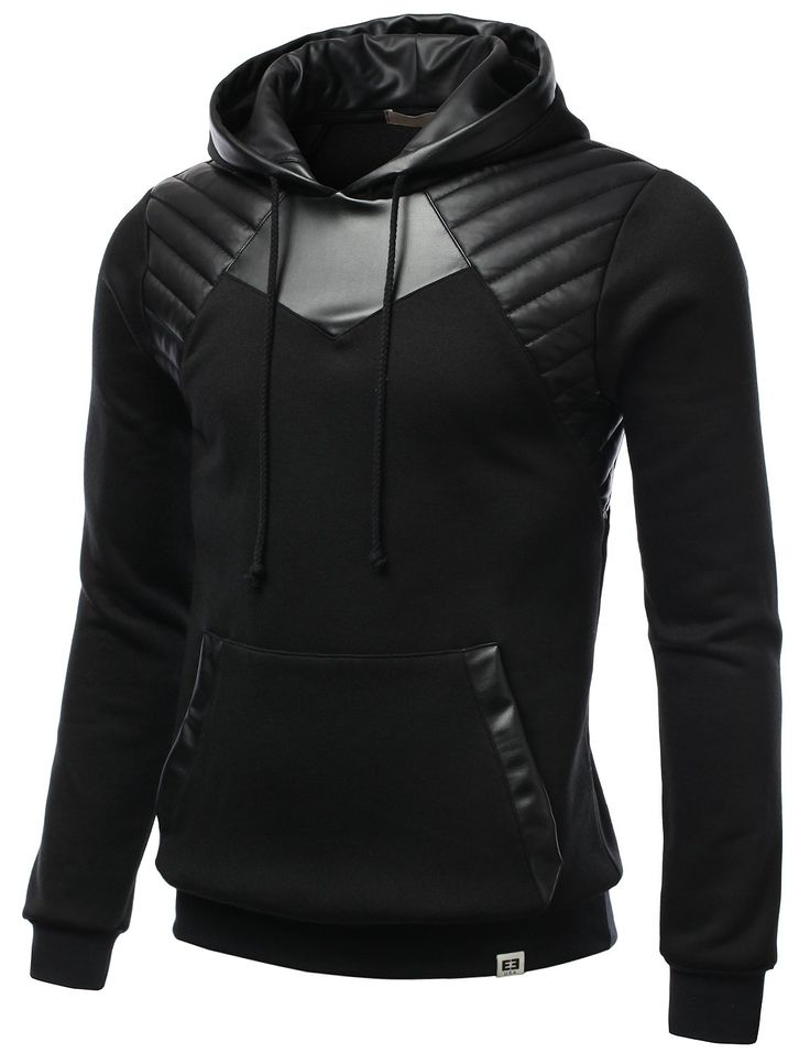 SMITHJAY Mens Hipster Hip-Hop Leather Padding Hoodie Sweatshirt BLACK XLARGE