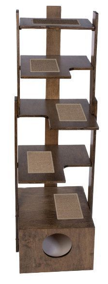 Made in the USA from 3/4 premium select cabinet grade birch by craftsman with 25 years experience. Handcrafted - Sturdy - Safe - Made to Order piece of furniture - Ships from USA - Sisal Scratching Inserts on each Level - Beddy Box on the bottom. For any questions: info.purrfectrends@cox.net. This tower provides great exercise for your cat. It supports 25 lbs. per level, is furniture finished and can accessorize any decor. It is easy to keep clean and is easily assembled.