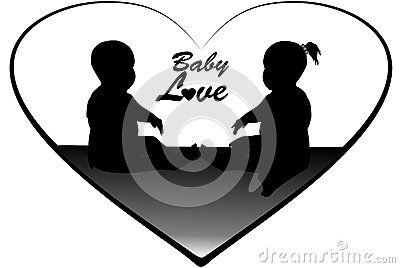 Vector drawing silhouette of a boy and girl baby`s heart. Only available Dreamstime.