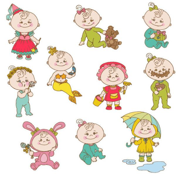 cartoon baby new year of cute cartoon baby vector set 02 happy childrenillustration kidsvector freevector - Children Images Free Download