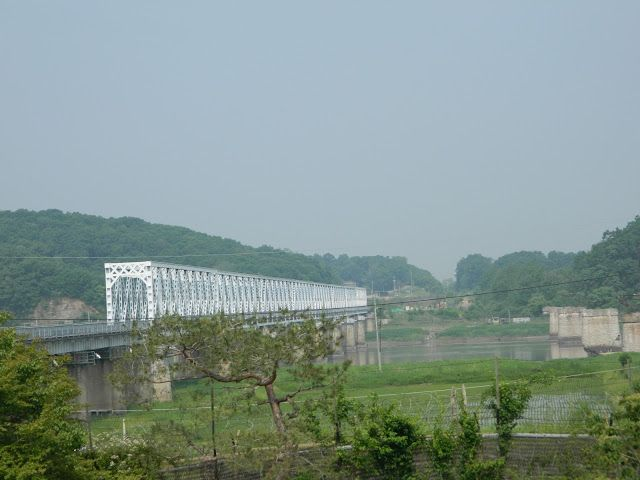 The Freedom bridge and railroad bridge with crosses the Imjin river