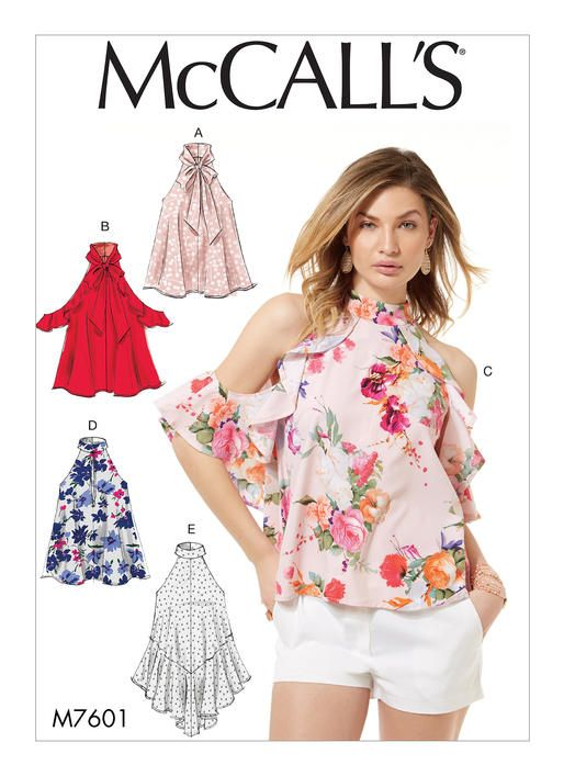McCall's tops sewing pattern M7601: Misses' Sleeveless Pullover Tops with Front or Back Slit Opening