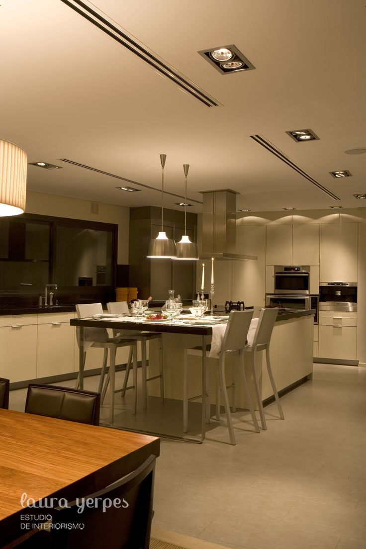 Cocina de la firma #Leicht, #color vainilla
