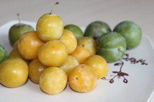 Mirabellen sehen aus wie kleine, gelbe Pflaumen. Sie sind weich im Fruchtfleisch…
