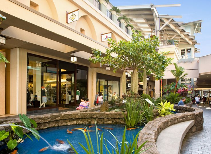 Moana Center's tropical landscaping and open-air design remind shoppers they're in Honolulu. // © 2014 Ala Moana Center