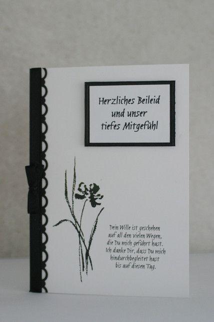 """Trauerkarte (mit Pergament-Einleger) C6 (Stempel aus """"Mit tiefstem Mitgefühl"""")"""