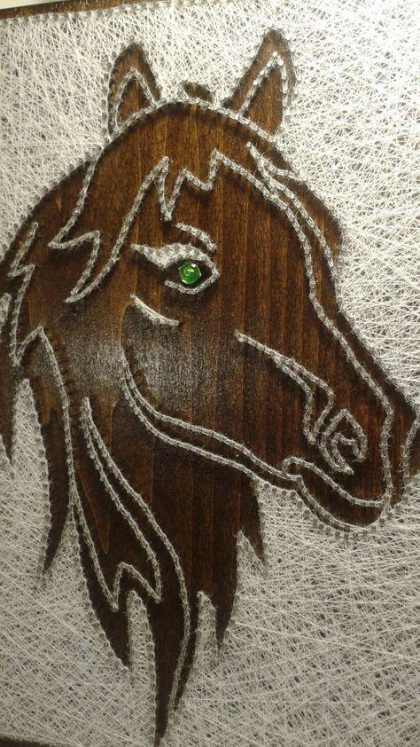 Pferd. String Art.Wall Dekor. Wohnkultur. Natürliche von Bigantic