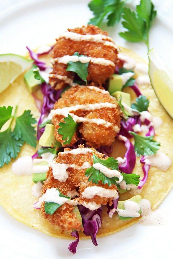 Crispy shrimp tacos with spicy yogurt sauce recipe for Greek yogurt fish taco sauce