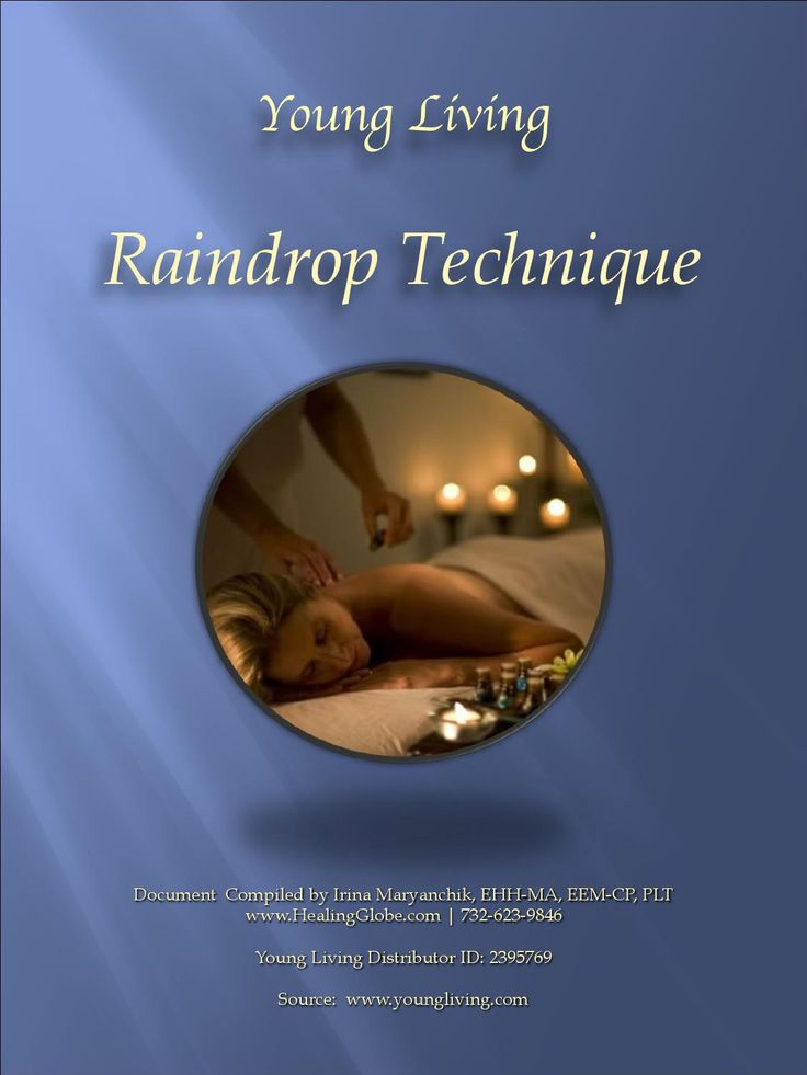 The Raindrop technique was developed by D. Gary Young, a founder of Young Living Essential Oils. Raindrop combines several modalities to bring true balance and transformation. It supports body systems on a physical and emotionally level. It's a luxurious Hands-On technique that involves applying therapeutic grade essential oils to the spine, neck and feet to achieve wellness and perfect balance.