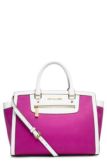 Michael Michael Kors Selma Large Zip Satchel Pink / color of the year bag :  radiant orchid