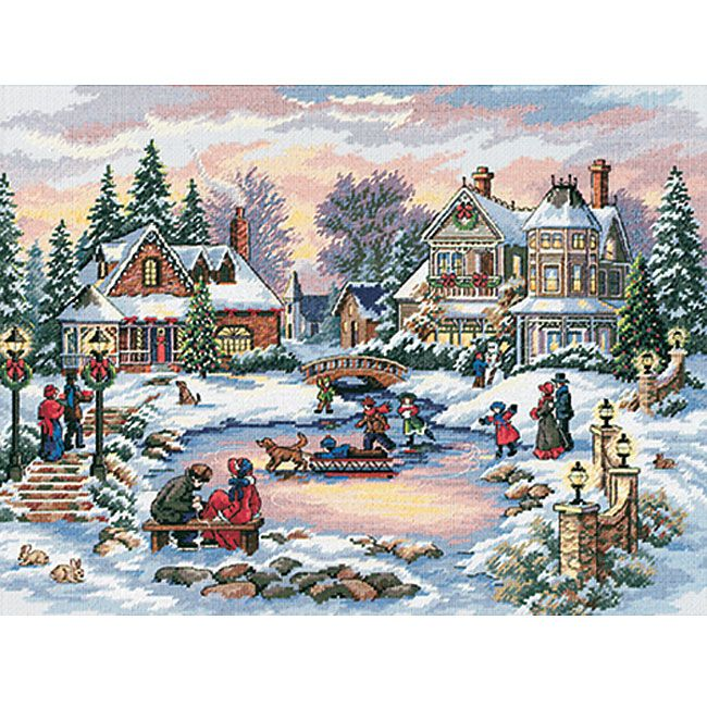 <li>Cross-stitch kit features Christmas scene 'A Treasured Time'<li>Counted cross stitch kit includes 16-count Aida cloth, embroidery thread, needle and instructions<li>'A Treasured Time' needlework is 16 inches wide x 12 inches high