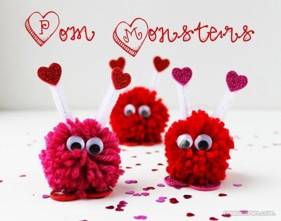 Dollar Store Crafts » Blog Archive » Make Valentine Pom-Pom Monsters