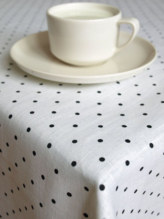 RESERVED Linen tablecloth white black polka dots Eco Friendly , also table runner , napkins , pillows available ,great GIFT