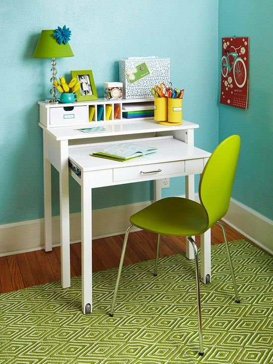 Perfect type of desk for Josiah, and it folds in to save space.