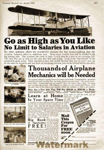 Wall Art 1923 Aviation Mechanic Magazine Advertisement Poster 11x17