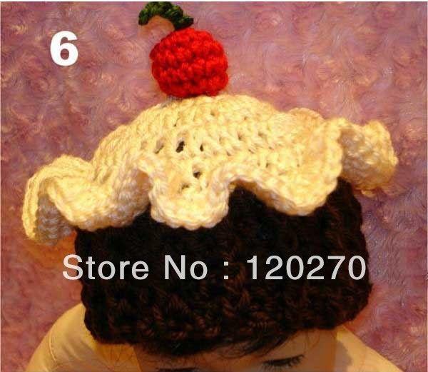 gratis verzending gehaakte baby jongens meisjes cupcake patroon muts pasgeboren baby' s peuters dier caps kinderen beanie oorkleppen katoen(China (Mainland))