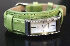 FOSSIL Brand F2 Clear Crystal Bezel Green Leather Band Womens 3ATM Watch ES-9924