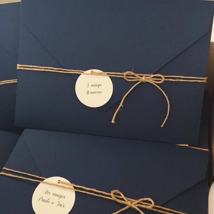 Dica de Convite de Casamento – Craft + Azul Marinho | Lápis de Noiva