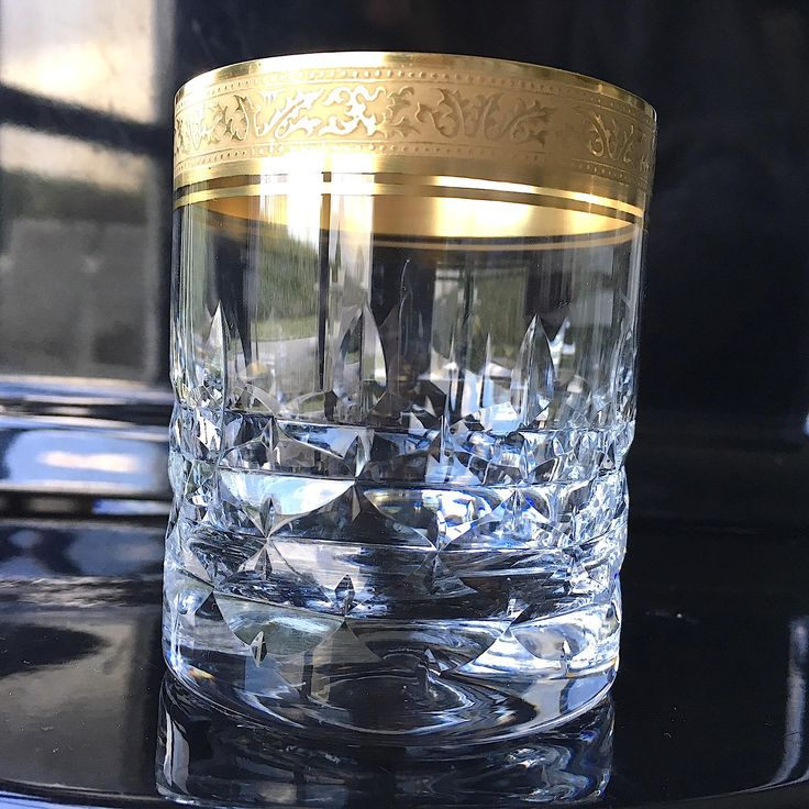 Now on Etsy, set of 2, Crystal Whiskey Glasses with rich textured Gold Rim, Mintonborde, Mid Century Barware, Bar Cart, VINTAGE LUXURY door PetraBoutiqueFinds op Etsy