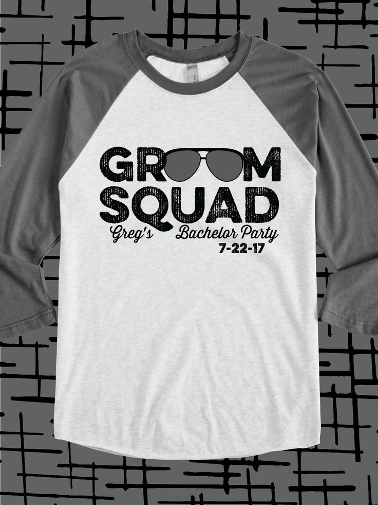 Groom Squad design idea for custom bachelor party t-shirts, raglans, hoodies, bags, hats, cups, and more #wedding