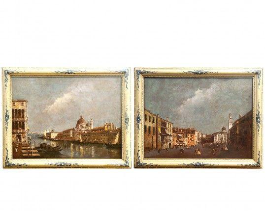 Coppia di dipinti raffiguranti Venezia. Maestro Veneziano Sec XVIII
