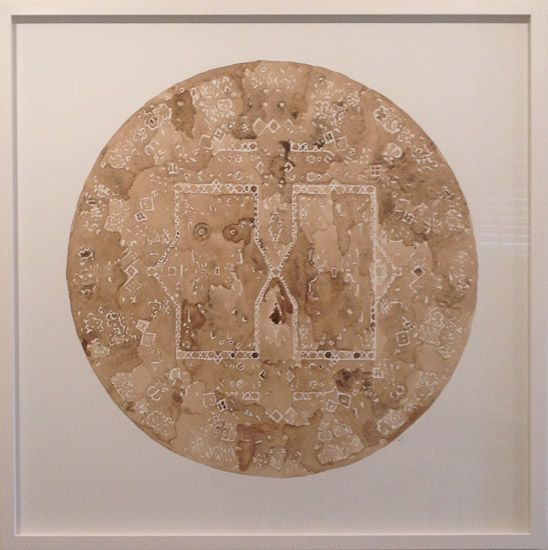Richard Orjis.  A round.  2012.  1130 x 1130 mm.  soil and tea on paper.