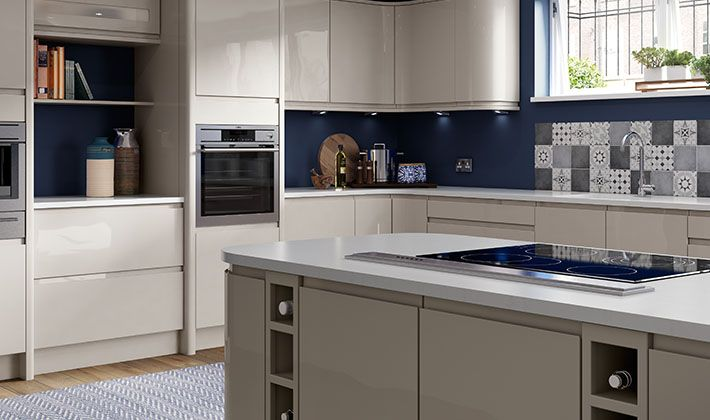 Sofia cashmere handleless kitchen kitchen for Wickes kitchen cupboards