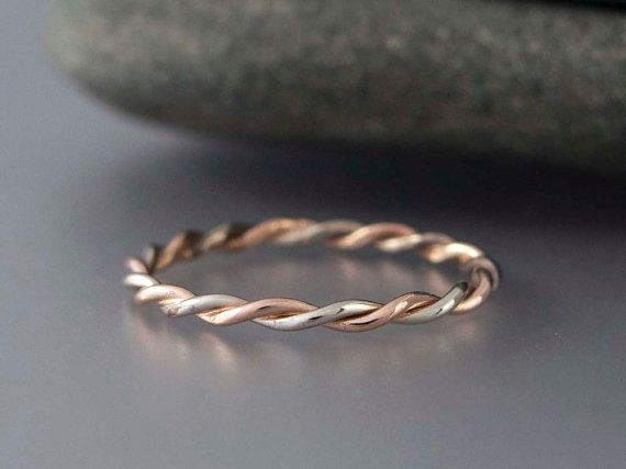 Two Tone Gold Twist Ring in Solid 14k Gold Rose by LichenAndLychee, $150.00 love it! it reminds me of the paper clip ring from legend