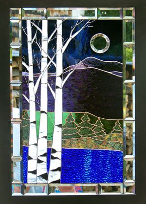 "Stained Glass by Rosemarie Ferry League of NH Craftsman 2012   Stevens Glass Award and Permanent Collection Purchase Award  For Her ""Birches In Mirror"" Piece. Stained Glass Shack"