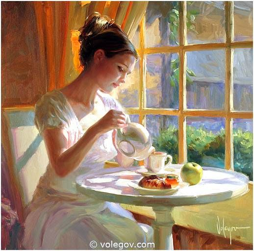 HOUR OF TEA, painting,