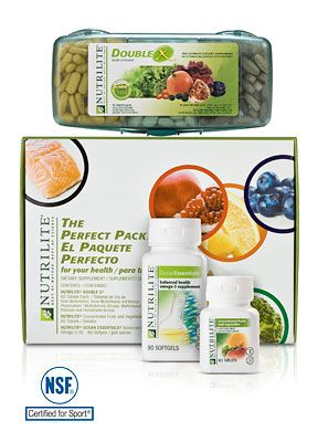 Support your diet when your eating habits don't. The Perfect Pack features three premier NUTRILITE supplements to help you establish a strong nutritional foundation. If you're not regularly consuming 22 essential vitamins and minerals, 10+ servings of fruits and vegetables, and one serving of ocean fish every day, the Perfect Pack will help you fill your nutritional gaps.  Usage Rate: 60 Use(s) per Box