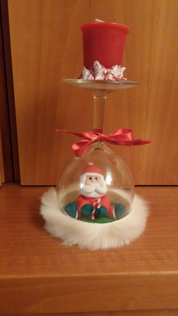 Bicchiere Babbo Natale fimo