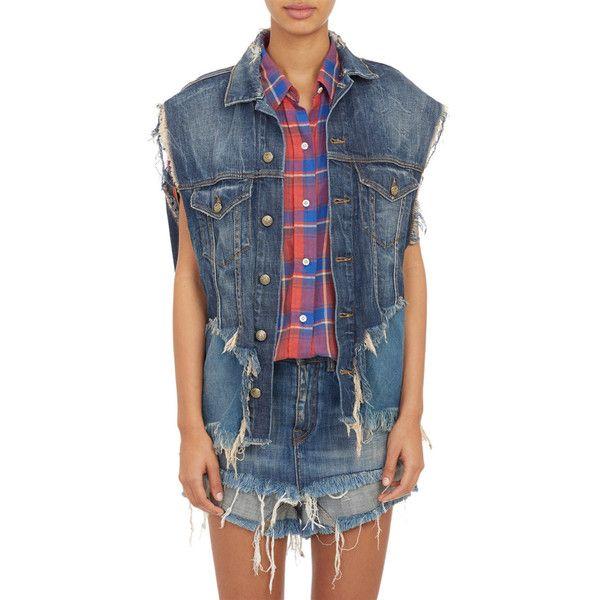 R13 Cut-Off Jeans-Jacket Vest ($745) ❤ liked on Polyvore featuring outerwear, vests, blue, jean vest jacket, button vest, denim vest jacket, cutoff jean jacket and denim jacket