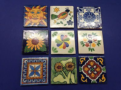 9 Vintage Clay Tiles Mosaic Terra Cotta Pottery Bird Blue Sunflower Cobalt Willo