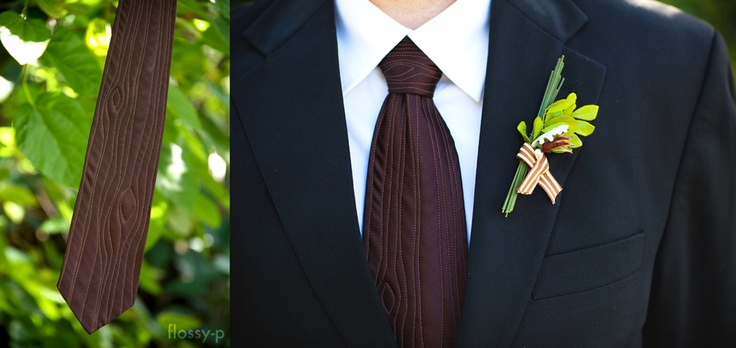 My fella wanted to wear a wooden tie at our wedding, so I stitched one to look woody! He even requested a wood knot on the tie knot :)  #handmadewedding #rusticwedding #menstie #necktie #groom #tie #wood #faux #flossyp #flossy-p