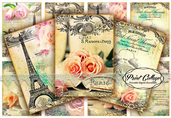 Roses from Paris  Digital Collage Sheet Designed by PrintCollage