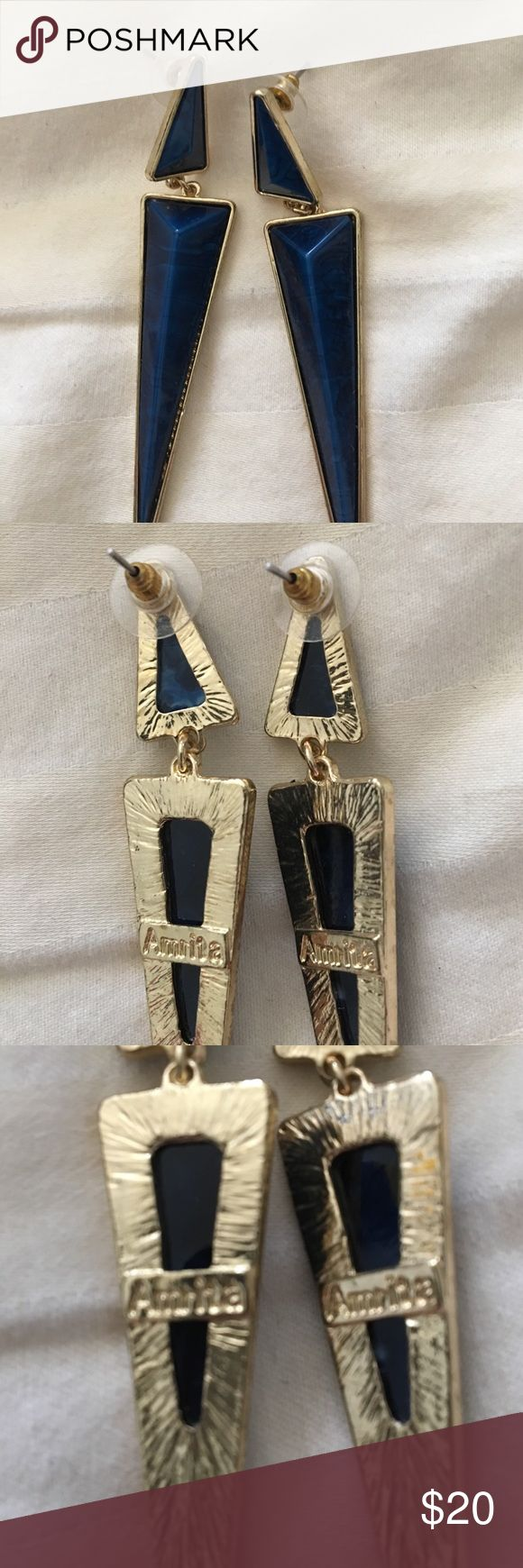 Navy and gold dangle earrings Amrita Singh navy and gold dangle earrings. Pierced ears. Light. In great shape, worn just a few times. Amrita Singh Jewelry Earrings