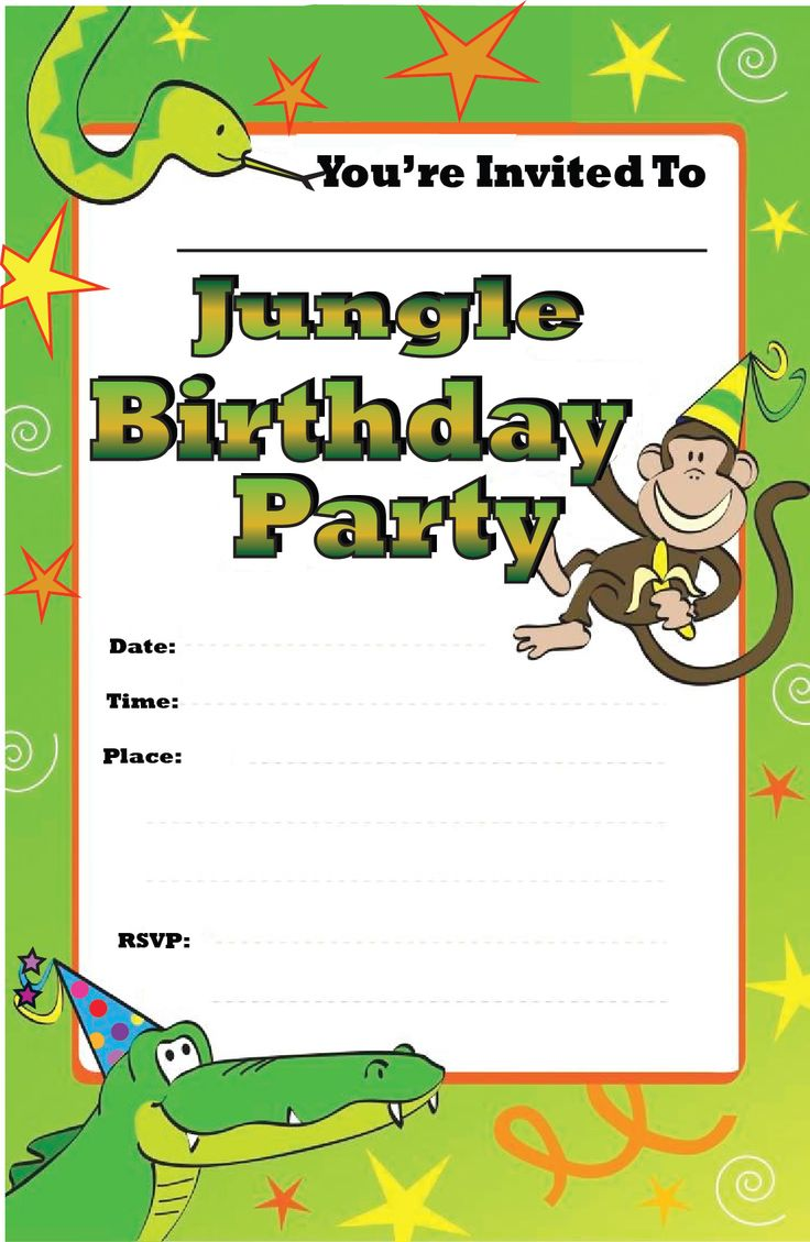 free printable jungle birthday party invitations : Cogimbo.us