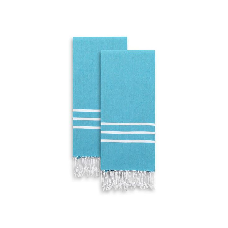 Linum Home Textiles 2-pack Alara Pestemal Color Hand Towels, Blue