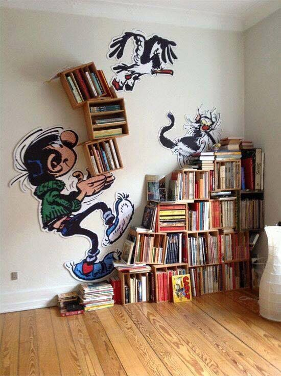 Don't like the cartoon but it's a cute idea. #bookshelves.