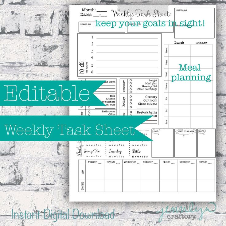 Editable Week at a Glance Detailed Printable Planner and Monthly calendar--includes cleaning tasks and meal planning and weekly goals by JennLynCraftory on Etsy
